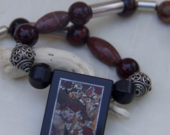 Necklace jasper intarsia pendant  orange rust brown black silver beige earthy black onyx sterling beads
