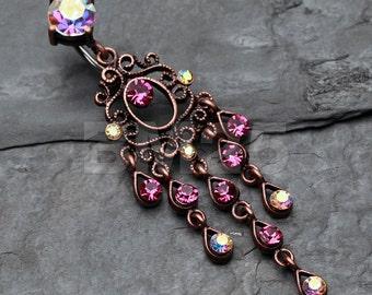 Vintage Boho Chandelier Reverse Belly Button Ring - Copper/Aurora Borealis/Fuchsia