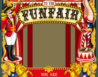 Carnival circus tent photography backdrop, birthday party funfair celebration decor photoshoot background,studio photography backdropXT-6677
