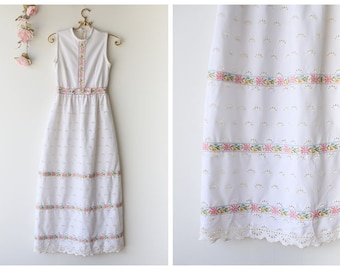 Vintage 1970's White Eyelet Maxi Dress - Sleeveless Maxi with Pastel Embroidered Ribbon - Girly Maxi with Floral Details - Size Extra Small