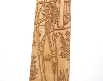 Wooden Bookmark Musician Skeleton Danse macabre Medieval art