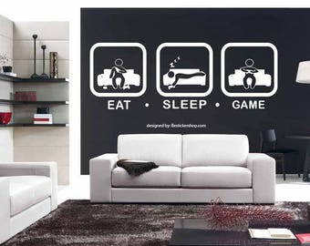 Wall decal video game wall decals gamer wall decal Eat Sleep Game Controller Stickers Customized For Bedroom Vinyl Wall Art Decals (us005)