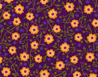 Autumn Harvest by Quilting Treasures-Purple Floral 21304-B