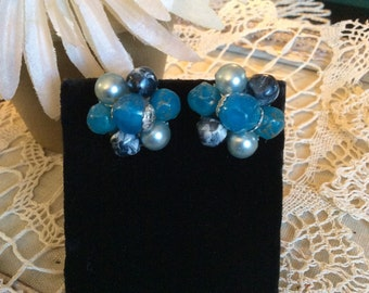 Vintage Earrings Blues Assorted Simulated Pearl & Beads Costume Jewelry