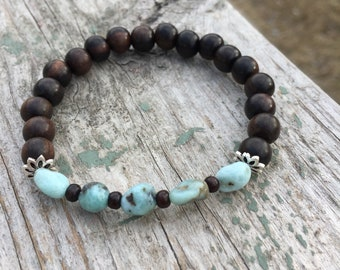 Larimar & Tiger Ebony Wood Meditation Bracelet