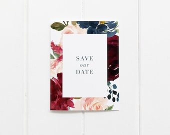 Burgundy Navy and Blush Save the Date Cards // Modern Wedding Save the Dates Fine Art Cards Minimal Blush Pink Navy Blue Monogram Minimalist