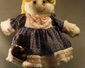 "Soft Cloth Doll Pattern For ""SUSIE and HER BEAR"" Free Shipping"