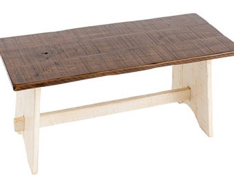 French Country Rustic Wood Bench made from Solid Poplar Hardwood