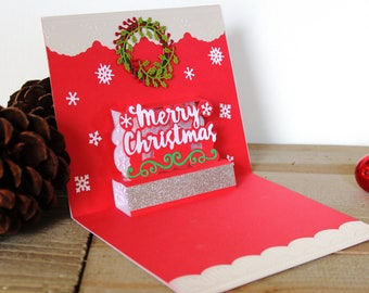 Handmade Pop Up Christmas Card, Merry Christmas, Green White Red, Wreath, Unique, One of a Kind, Blank Inside