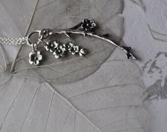 delicate cherry blossom sterling silver necklace, dangling cherry blossom necklace, sterling silver cherry blossom necklace, Sakura