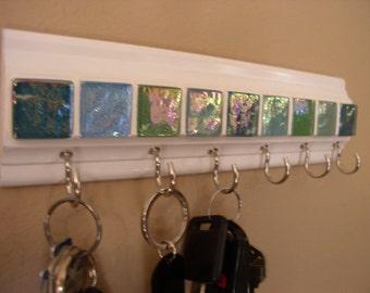 "Wall rack for keys & other necessities The colors of sea glass tile design 9 "" long on white w/ 5 hooks key rack . Glasses,leash,key holder"