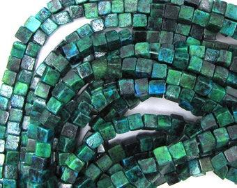 "4mm blue green azurite cube beads 16"" strand 30309"