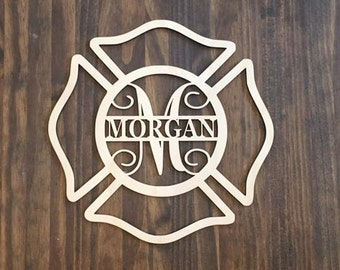 "12"" Wood Maltese Cross Firefighter Fireman Monogram Laser Cutout Shape Unfinished"