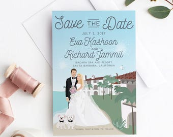 Save the Date  with Couple Portrait - Destination Wedding Save the Date Card - Unique Save the Date Idea - Miss Design Berry