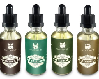 All Natural Beard Oils by Beardaments - 50 ML (1.7oz) - Glass Bottle - Four Great Scents Available