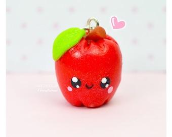 Mini Kawaii Apple Charm Pendant Necklace Polymer Clay Miniature Food Jewelry Gift Teacher