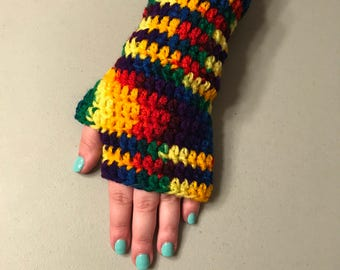 Rainbow Theme Fingerless Texting Gloves