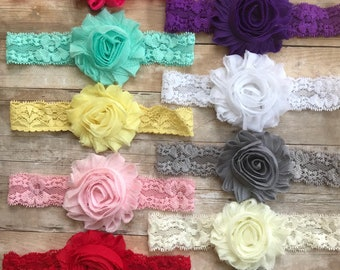 PICK 1 Lace headband, Baby Girl Heaband, Newborn Headband, Shabby Chic Headband, Toddler Headband, Lace Headbands, You pick 1