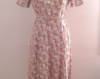 Vintage 1940's Brown Green Paisley Print Cotton Short Sleeve Day Dress Belted Sz Small WWII Era Mid Century