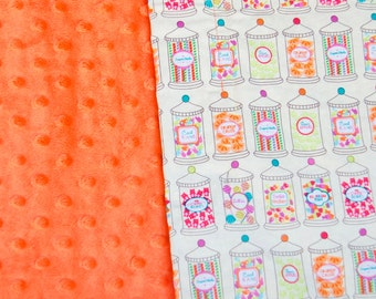 Minky Baby Girl Blanket Candy Store Yellow Pink Green Orange - Name Available - Candy Crush