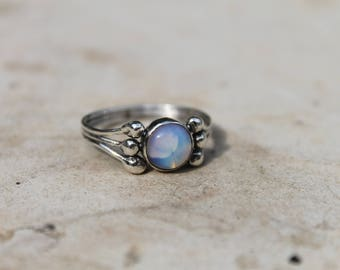 natural opal ring, real opal ring for her, opal statement ring, October birthstone ring, blue opal ring, natural crystal ring, :)