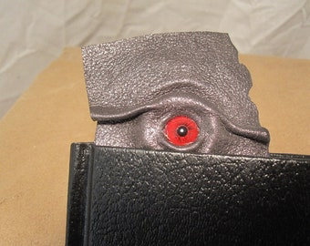 Grichels leather bookmark - dark gunmetal silver with red carousel horse eye
