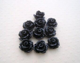 Set of 10 flowers in black resin 10 mm - en-0623