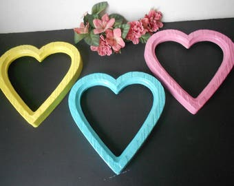 Three Vintage Homco hearts colorful bright upcycled  wall picture frames