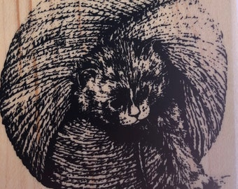 Kitty In a Ball of Yarn Rubber Stamp
