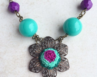 Purple Turquoise Southwestern Necklace, Mexican Clay Flower Necklace, Cinco De Mayo Fiesta Necklace