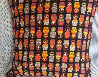 Handmade Russian doll cushion cover 16 x 16
