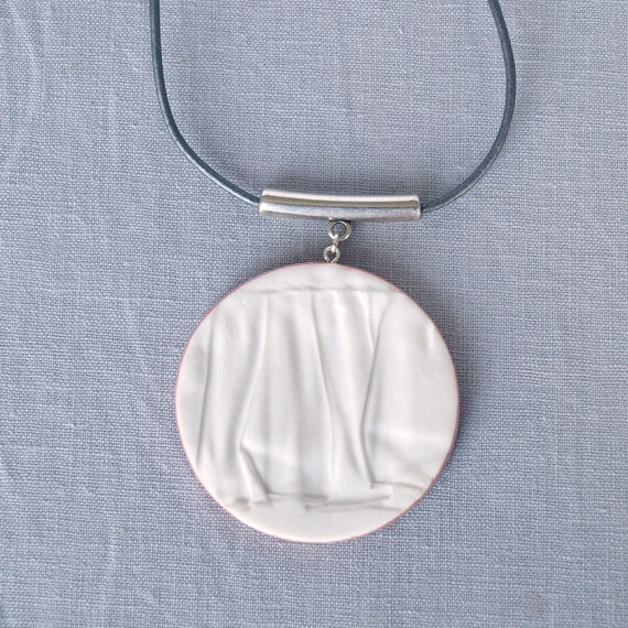 RUCHED No18 geometric circle pendant necklace