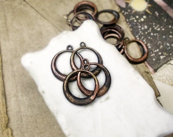 Rustic Vintage Brass Hoops | 4 Oxidized GOld Tone Earring Components | 16mm Lightweight Tarnished Antique Patina Assemblage Hollow Stamping