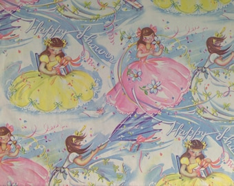 Vintage Gift Wrapping Paper by Ben Mont - Windy Rainy Bridal Shower Girls with Gifts - Bridal Shower Wrap - 1 Unused Full Sheet Gift Wrap