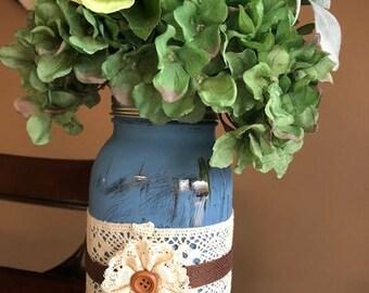 Extra Large Blue Mason Jar Flower Arrangement