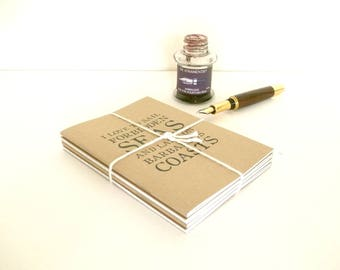 Travel Journal Gift Set, 4 x Travel Quote Notebooks | Travel Quotations - Joyce, Kipling, Steinbeck, Melville | A6 Pocket Kraft Notebook Set