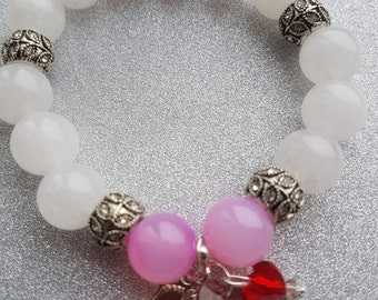 White Agate with Pink Morganite beads!