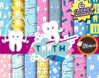 SALE Tooth Digital Paper - Tooth Scrapbook, Tooth Clipart, Teeth, Dentist Clipart, Diente Clipart, Invitation, Dental Toothbrush