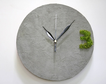 Concrete type Wall Clock, industrial decor, concrete office decor, concrete and moss MODERN WALL CLOCK, industrial home decor