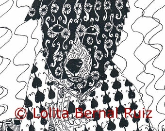 zentangle art / puppy drawing / dog illustration / border collie / doodle / black and white / 8 x 10 inch / P116