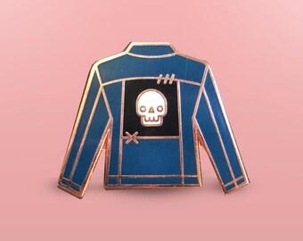 Jean Jacket With Patch Enamel Pin