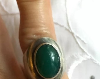 ON SALE Vintage .925 Sterling SIlver Aventurine Ring From Israel Size4.5