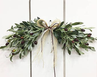 Artificial olive leaf door swag / Door decor / Front door decor / Door hanger / Wall decor