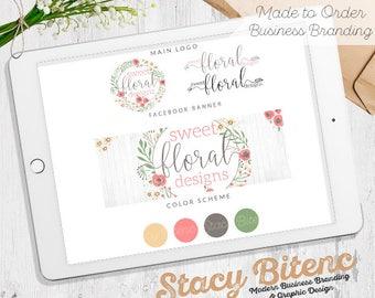 Floral Logo, Farmhouse Logo, Wreath Logo, Feminine Logo, Logo design, Business Branding, Rose Logo, Etsy Shop Set, Etsy Banner, Premade Logo
