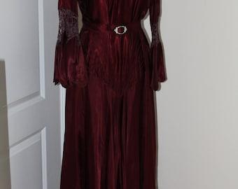 Vintage 1937 Burgundy Satin Gown