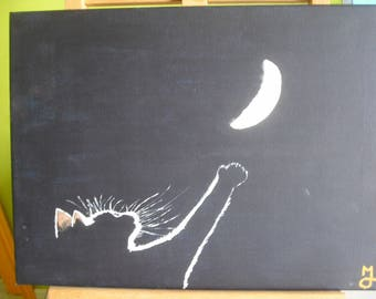 """Painting acrylic painting """"Moon"""""""