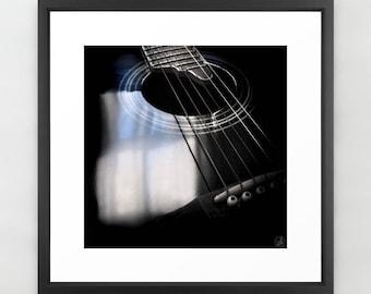 Art Print Guitar Black Acoustic photo, musician gift, recording studio, blues music, guitar strings, square unframed, musical instrument