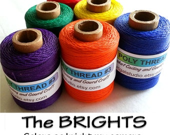 Waxed Poly Thread - The BRIGHTS - Choose Color, 2 oz Spool, Ideal for Pine Needle Basket Weaving, Gourd Art, Leather Craft, Jewelry, Beading
