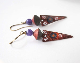 Red Enamel Earrings, Gypsy Boho Earrings, Floral Earrings, Triangle Drop Earrings, Artisan Enamel, Polymer Clay Jewelry, Purple Earrings