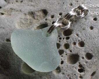 Large Droplet Soft Seafoam Sea Glass Sterling Silver Pendant Necklace (775)